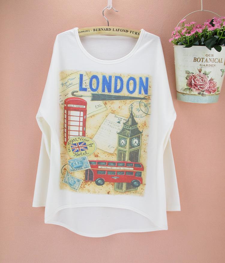 Promotion Famous London Big Ben Pattern Autumn Apparel Women Plus Size Top Tees Long Batwing Sleeve O-Neck T-Shirt(China (Mainland))