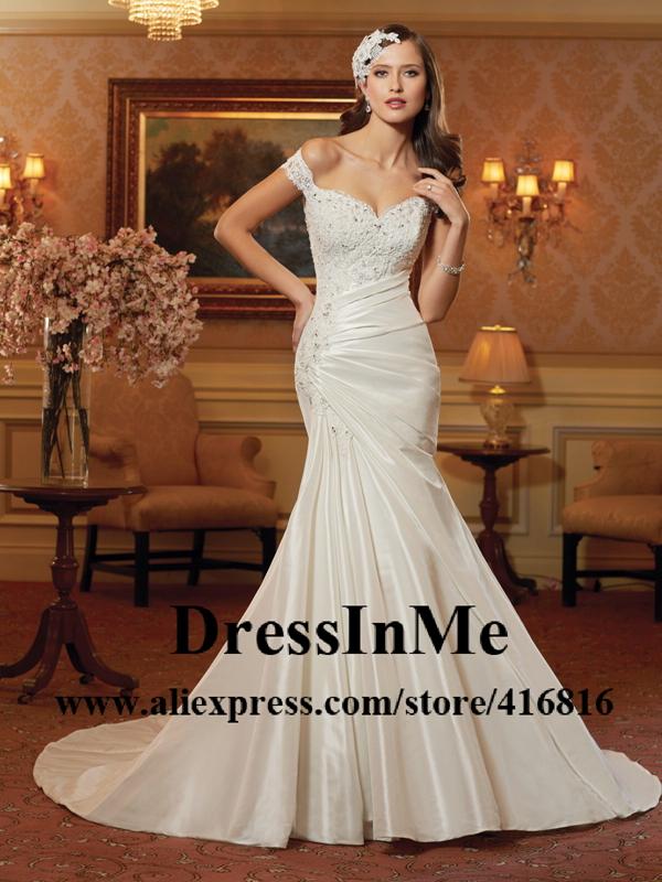 Alencon Lace Appliqued Off Shoulder Mermaid Wedding Dress with Illusion Lace Back Summer Vestido de Noivas(China (Mainland))
