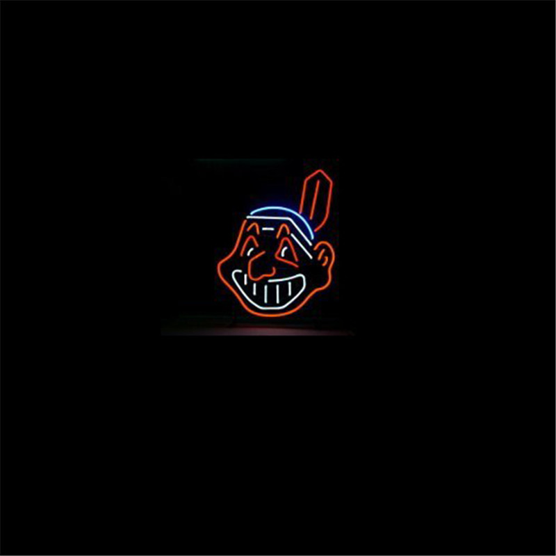 "NEON SIGN For MLB CLEVELAND INDIANS BASEBALL Signboard REAL GLASS BEER BAR PUB display Restaurant outdoor Light Signs 17*14""(China (Mainland))"