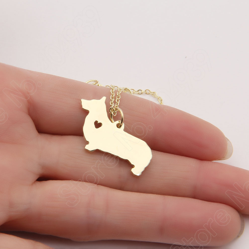 1pcs 1020 Corgi Necklace Queen Love Dog Necklace Memorial Gift Pet Lover Tag Necklaces Pendants Silver Gold Plated Choker Women(China (Mainland))