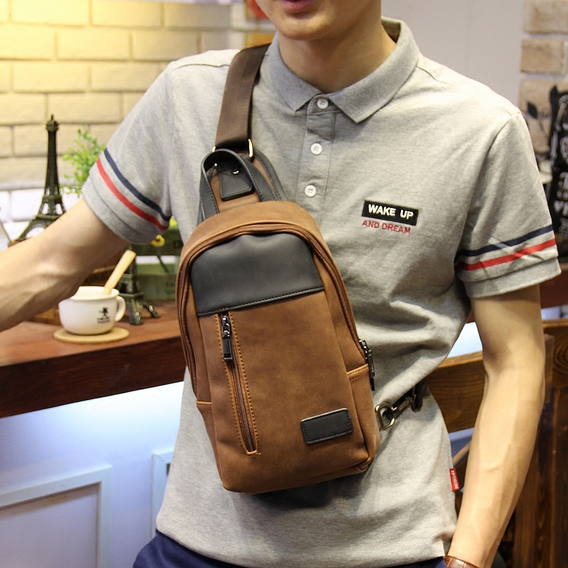 Brand design fashion crazy horse pu leather men messenger bags casual men's travel bags chest pack leisure shoulder bags bolsos(China (Mainland))