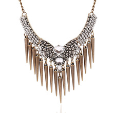 2015 Hot Statement Necklace Women's Vintage Luxury  Rhinestone Rivets Punk Choker Short Chain Necklace fine Jewelry