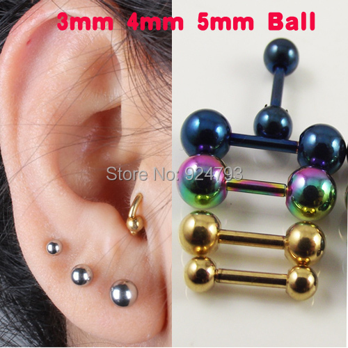 2 piece Stainless Steel Tragus Earring Ball Barbell Ear Piercing Black Silver Gold Cartilage Ring Jewelry For Men Women(China (Mainland))