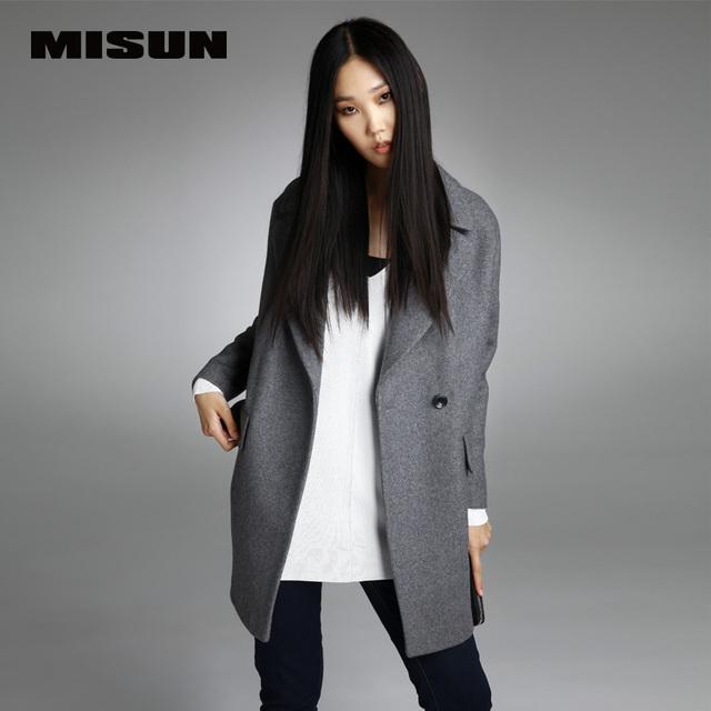 MISUN 2016 женская куртка костюм сгущает шерстяные отложным воротником однобортный широкий талией зима длинные мантии тип outerwears