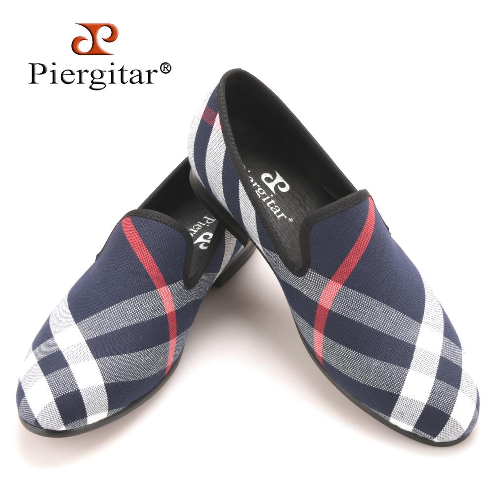 piergitar blue and white plaid canvas shoes luxurious
