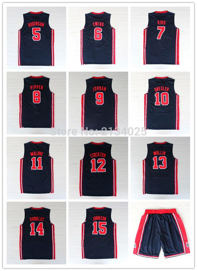 1992 dream team Jersey 5 David Robinson 6 Patrick Ewing #7 Larry Bird Johnson Pippen Stockton Malone Basketball Jerseys(China (Mainland))