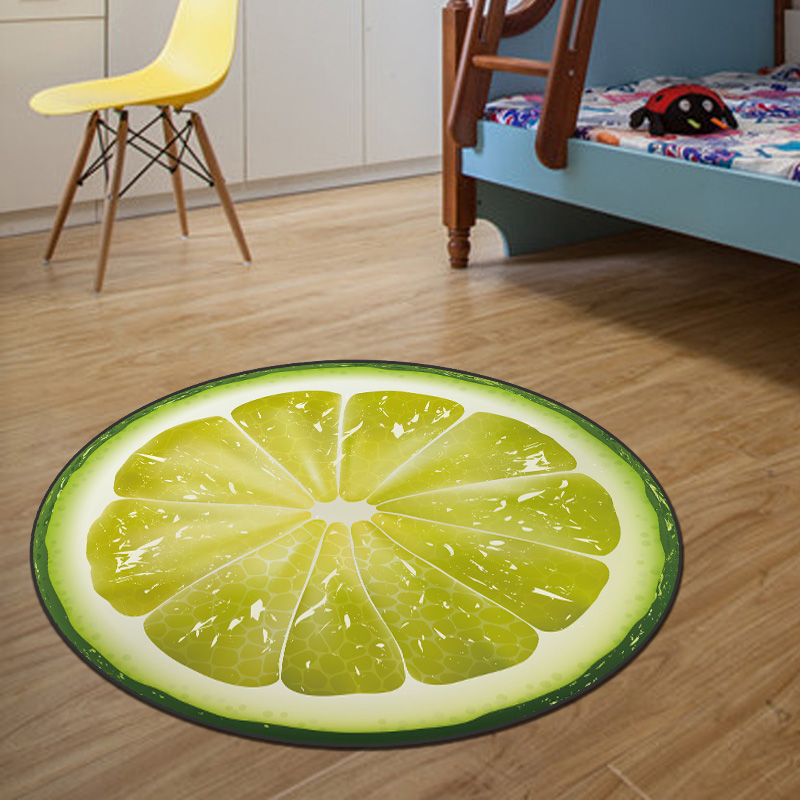 Stock 3D Lemon Round Mat 80/100/120/160CM alfombras dormitorio Carpet Living Room Deurmat Dier Rug Swivel chair tapis chambre(China (Mainland))