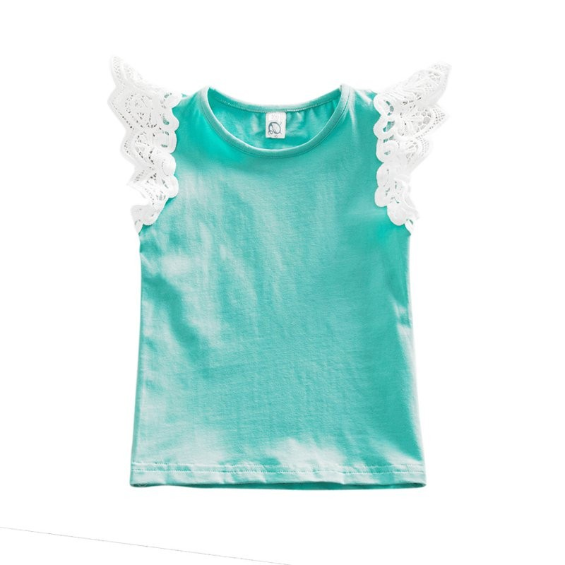 Cute Toddler Baby Summer Clothes Set Lace Cap Sleeve Blouse+Bib Bottom 0-24M