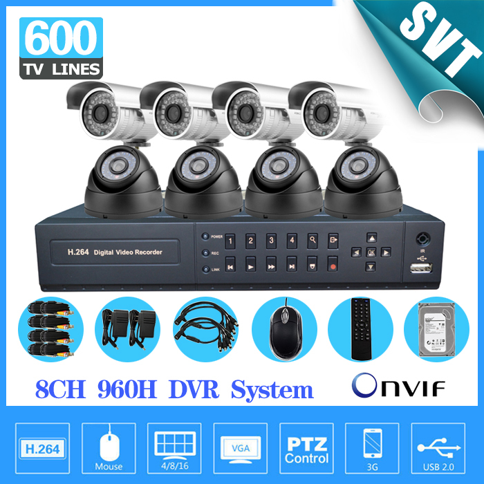 8 Channel Indoor outdoor waterproof Security Camera System cctv 8CH 960h DVR NVR Kit DIY video surveillance complete set 1TB HDD(China (Mainland))