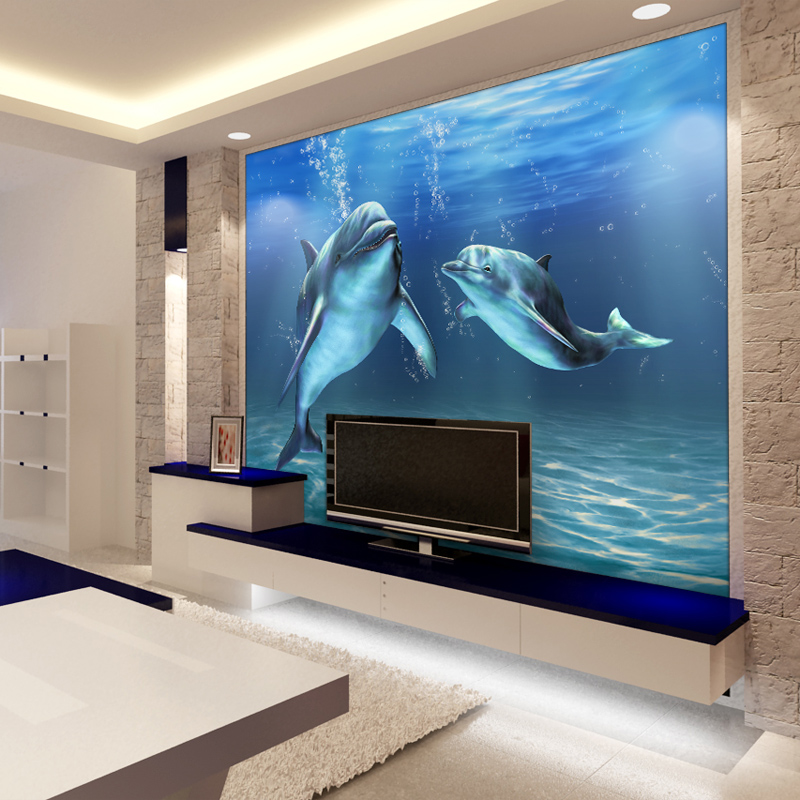 Mural 3d ocean dolphin mural wallpaper sofa bathroom tv for Dolphin mural wallpaper