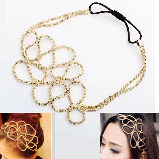 LEYU bohemian Indian gold Gems crystal hollow flowers hair chain elastic Hairbands headbands head Chain HAIR jewelry accessories(China (Mainland))