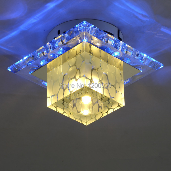 Фотография Wonderland LED Modern Square Crystal Glass Cloud Ceiling Light CE Yellow/Purple/Blue Light Aisle/Doorway Home Decoration D-03
