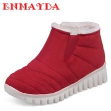ENMAYDA Slip-on Invierno Botas de Nieve Caliente Zapatos de Mujer de Tacón Bajo cuñas Botas de Plataforma Botines para Las Mujeres Sexy Negro Rojo zapatos(China (Mainland))