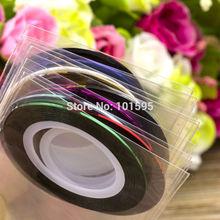 Wholesales Hot Beauty 3Pcs Mixed Colors Nail Rolls Adhesive Sticker Striping Tape Line DIY Nail Tips Art