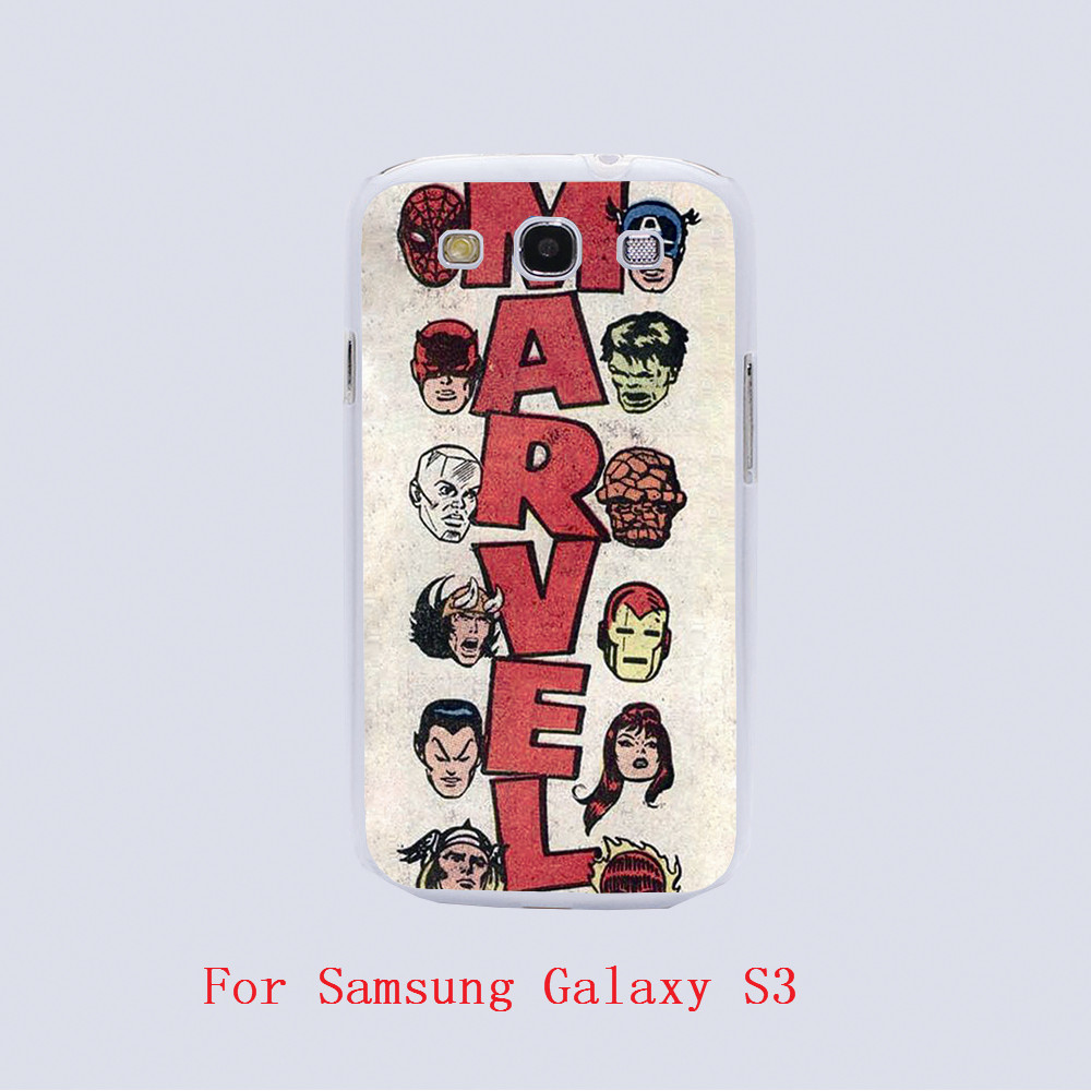Marvel jpg Design white skin phone cover cases For Samsung Galaxy S3 9300 /S4 /S5 /S6 /S6 Edge(China (Mainland))