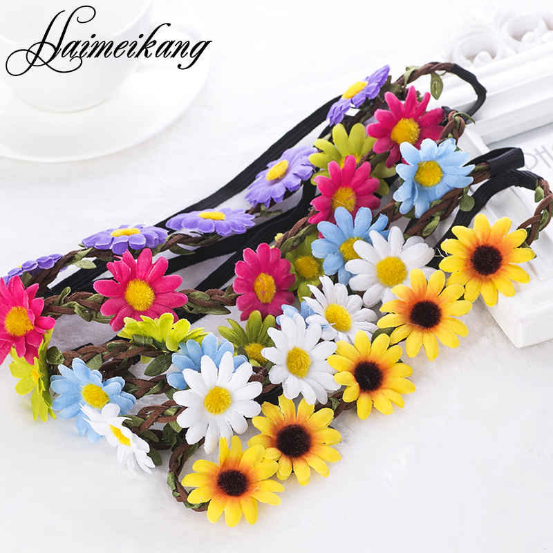 Boho Daisy Hair Bands for Women Hair Accessories New Headbands Festival Scrunchyl Elastic Flower Hair Garland Free Shipping(China (Mainland))