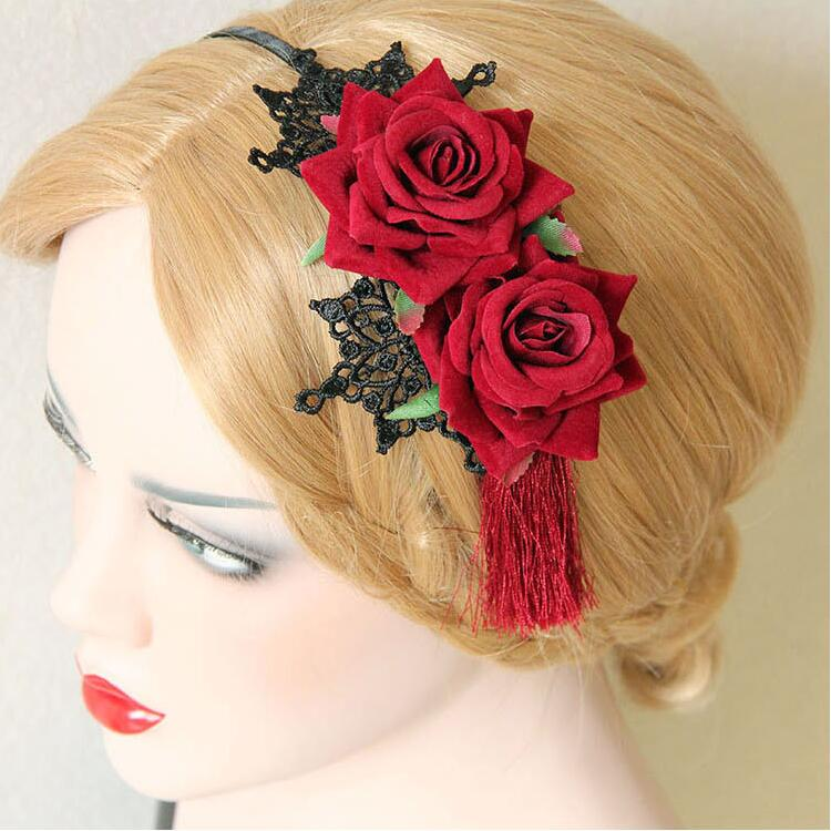 Vintage National Trend Tassel Rose Flower Hair Accessory Fringe Red Rose Hair Bands Lace Chinese Style Headband Bridal Formal(China (Mainland))