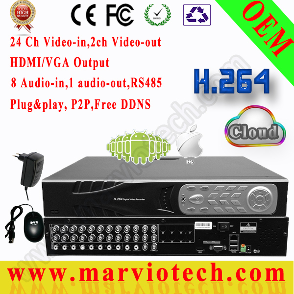 24Ch CIF security Camera record &amp;24 ch playback,2*4TB HDD Support,Mouse Adaptor HDMI HD VGA available,DVR security camera system<br><br>Aliexpress
