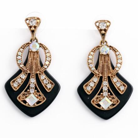 punk designer black luxury chunky crystal gem stud earrings jewelry