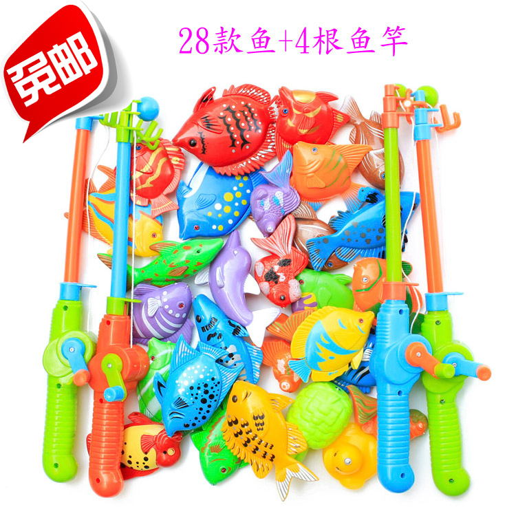 New magnetic fishing toy combination big set 28 fish and 4 for Fishing toy set