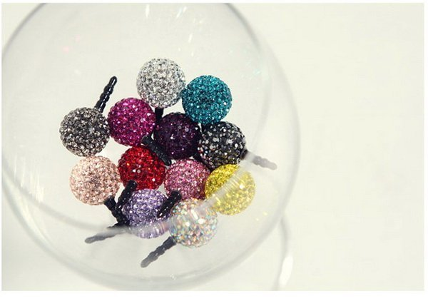 Anti dust Dustproof Proof Stopper Set earphone jack Plug colorful crystal ball design shining for iPhone ipad freeshipping 10pcs