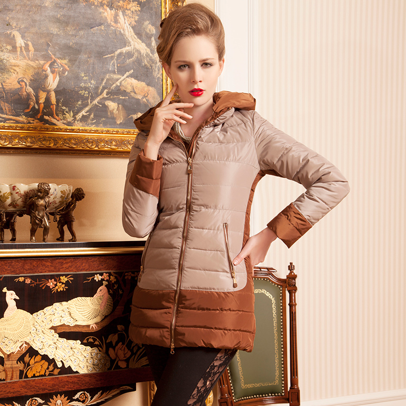 New winter women's down parkas coat slim zipper long sleeve regular white duck down regular solid formal standard(China (Mainland))