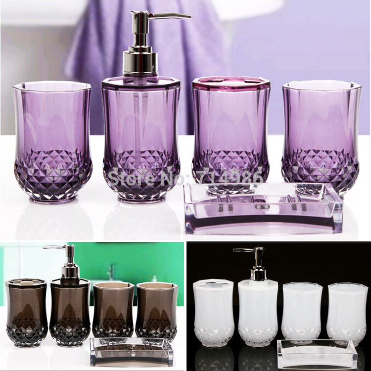Cheap elegant cylindrical crystal bathroom set household for Affordable bathroom sets