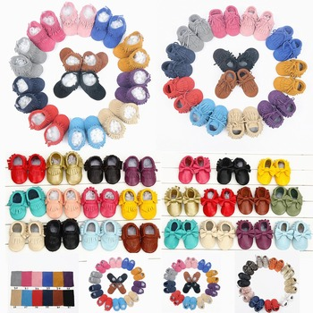 Genuine Leather baby shoes Toddler Fringe and bow baby moccasins First Walkers Infant Baby girl and boy Shoes Free shipping