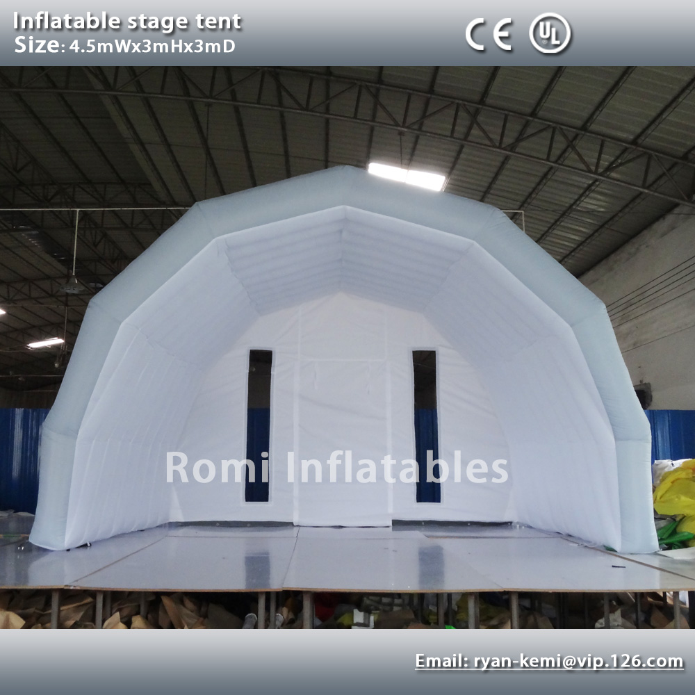 Custom 4.5mWx3mHx3mD light grey white inflatable stage ...