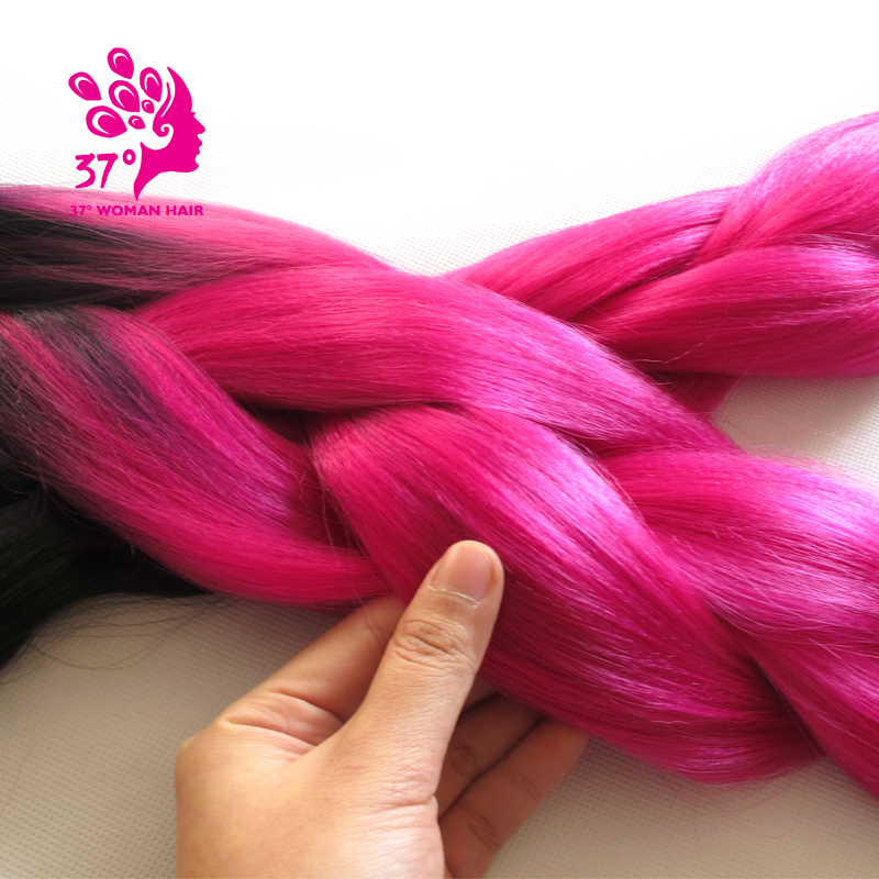 Kanekalon Ombre Braiding Hair synthetic braiding hair two tone color Black and  Fuschia about 100g ombre braiding hair<br><br>Aliexpress
