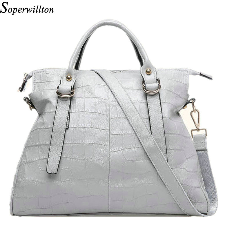 Soperwillton Brand Genuine Leather Women's Bag Cowhide Gray Color Soft Diamond Lattice Bags Female New 2016 Drop Shipping #656(China (Mainland))
