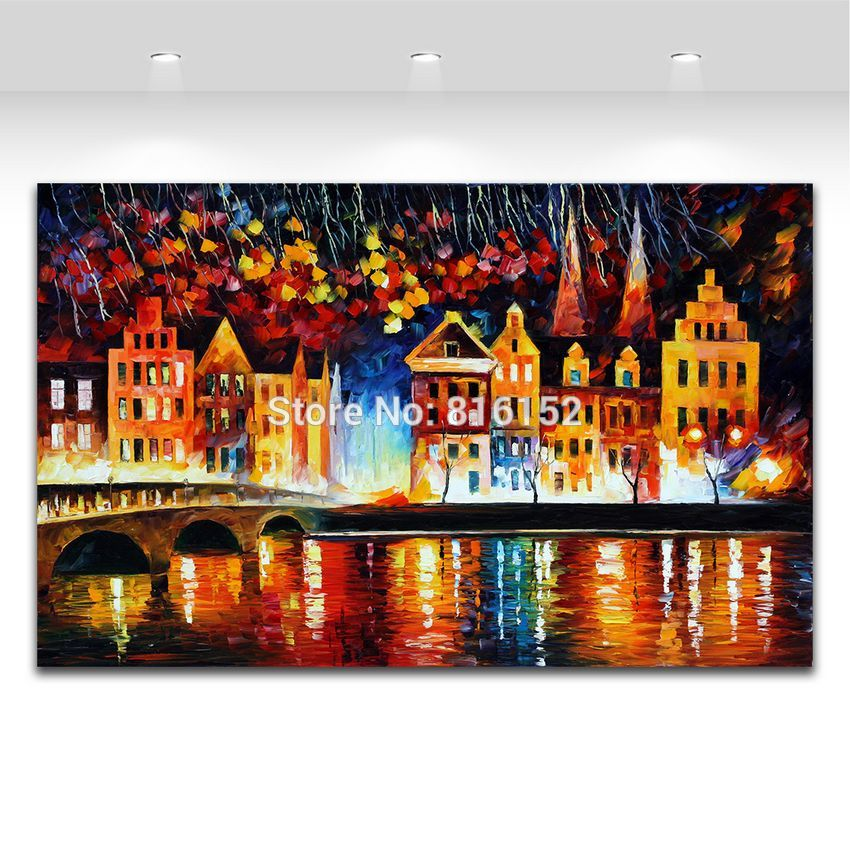 Buy 100% Hand-painted Palette Knife Painting Attractive Night Shore Bridge Landscape Picture Frameless Canvas Art for Living Room cheap