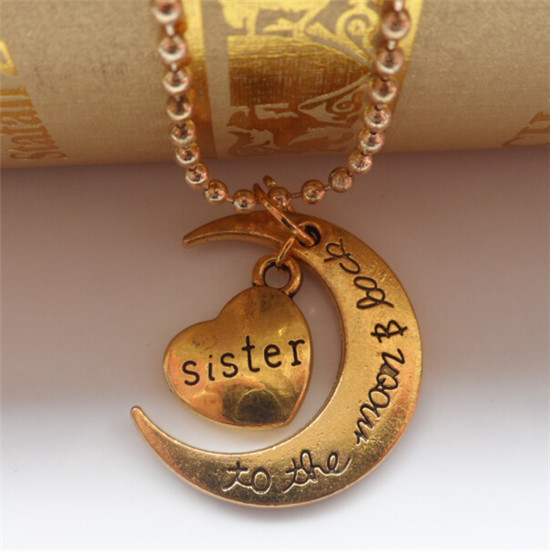 Gold plated heart family member necklace gold i love you to the moon and back pendant chain necklace for women/men 1pcs/lot(China (Mainland))