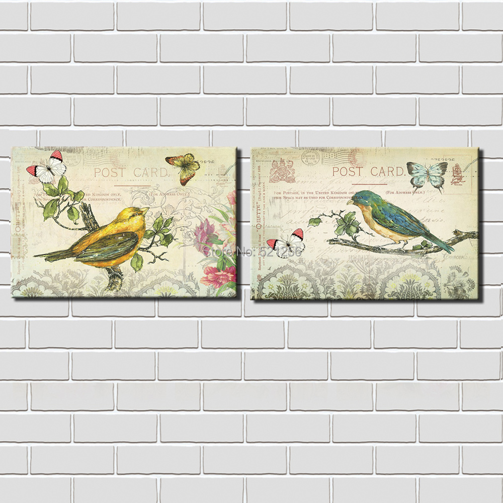 Modern Wall Art Home Decoration Printed Oil Painting Pictures Prints No Frame 2 Panel Birds on Branch Post Card Prints Decor(China (Mainland))