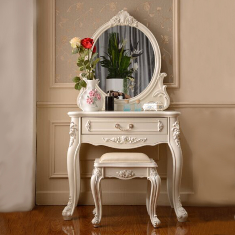 bedroom furniture ivory dressing table with mirror bench vanity set