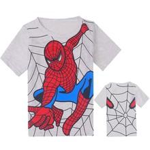 New Summer Grey Cartoon Spiderman For Short Sleeve Children Clothes