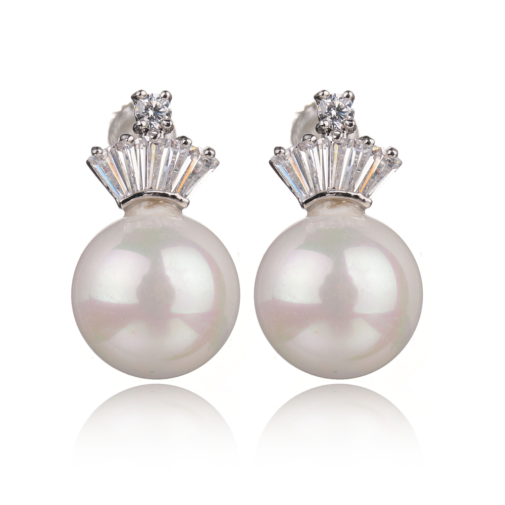 Latest Designs CZ Diamond Crown Earring Fashion Bridal Jewelry Simulated Pearl Stud Earrings For Women brincos de prata nupcial(China (Mainland))