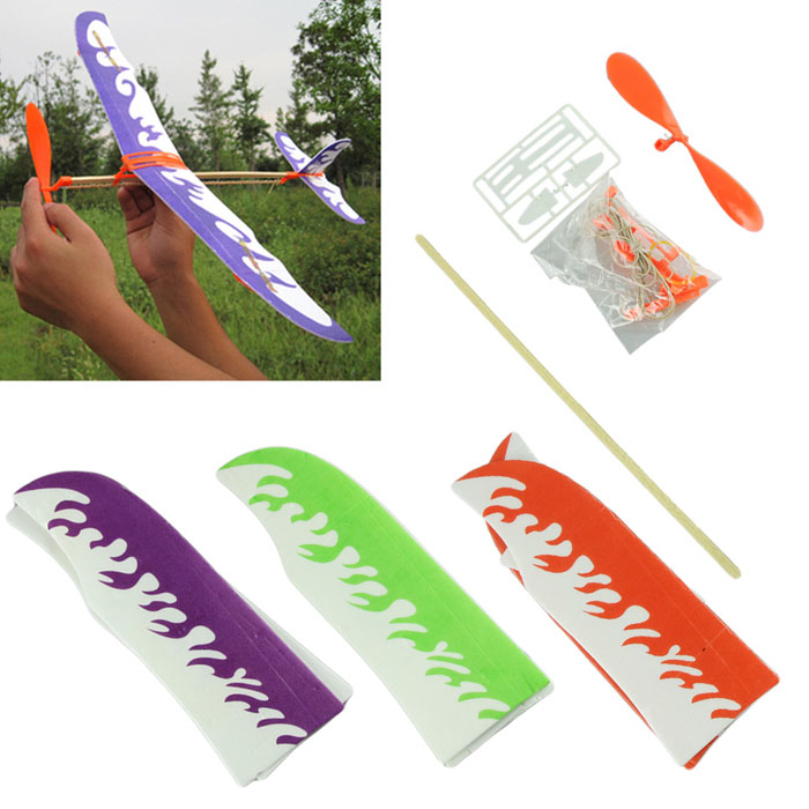 New Design Hot Selling DIY Airplane Model Aircraft Model Powered by Rubber Band Children Toys free shipping!(China (Mainland))