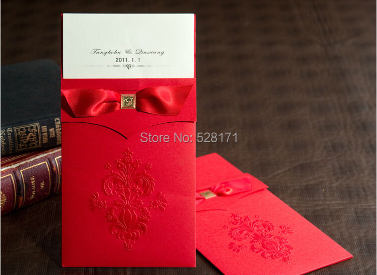 Free Shipping 1 Set Sample Cheap Vintage Red Flor-de-lis Design Wedding Invitation With Insert +1 Card +1 Envelope +1 Seal(China (Mainland))