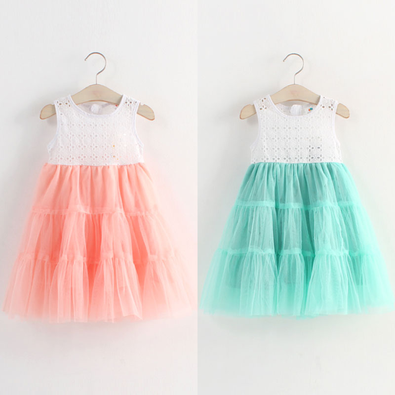 Princess Rushed Girls Clothes Free Shipping Baby Dress 2015 Summer Style New Clothing Girl Kids Children Vest Qz-2715 Wholesale(China (Mainland))