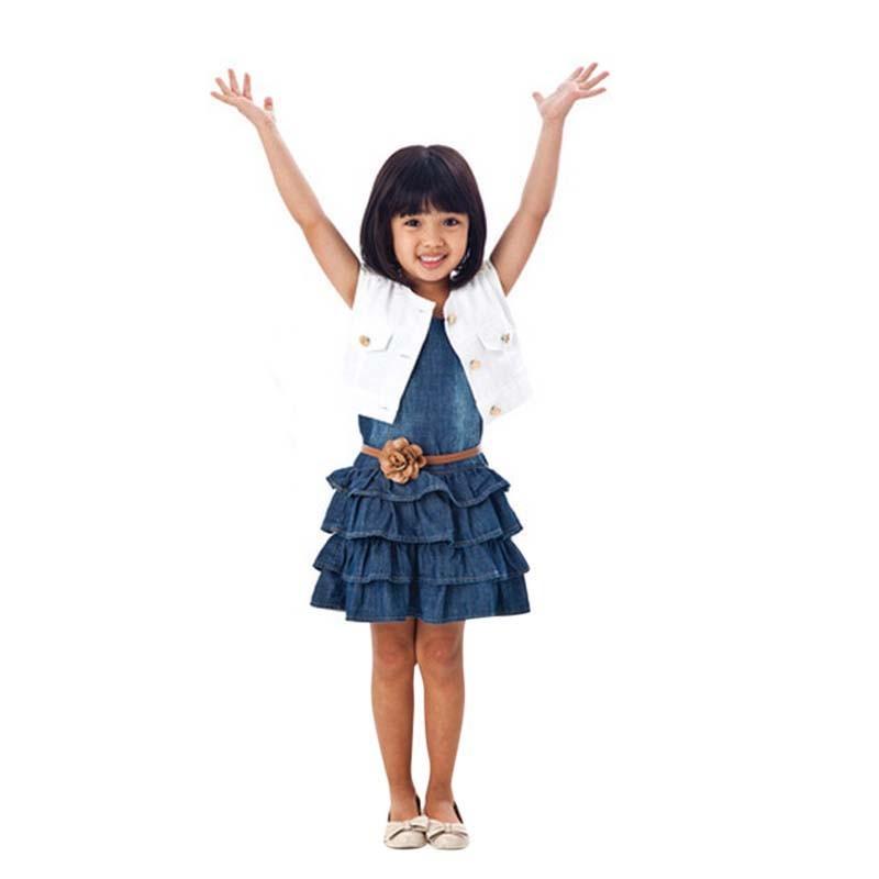 2pcs Lovely Baby Girl Dresses Jacket Suits belt kids Summer Denim vest Dress Children Girls Clothes Jeans Sets