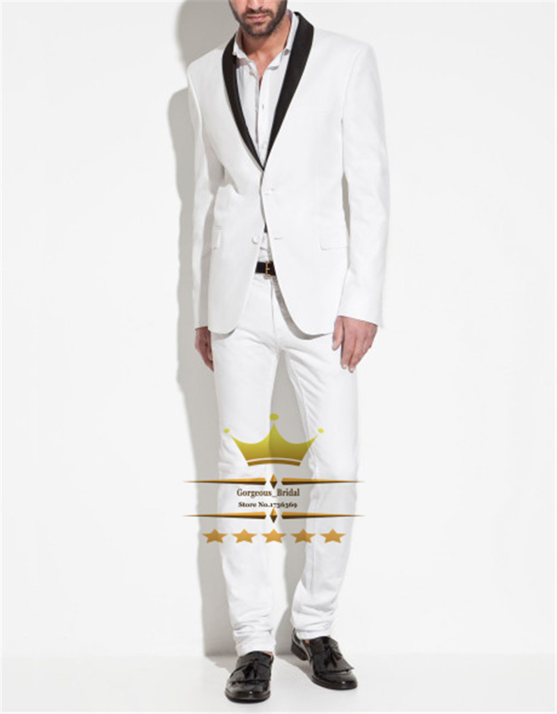 Здесь можно купить  Grooms Men Suit With Pants Custom Made White Tuxedos Jacket And Black Shawl Lapel Two Buttons   Jacket + Pants+Tie    HZ0247 Grooms Men Suit With Pants Custom Made White Tuxedos Jacket And Black Shawl Lapel Two Buttons   Jacket + Pants+Tie    HZ0247 Одежда и аксессуары