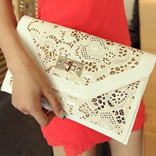Chain White Hollow Envelope Clutch Red Women PU Leather Handbags 2015 Women Messenger Bags Free Shipping Purse Wallet Wholesale(China (Mainland))