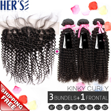 Afro Kinky Curly Hair Weft 3 Bundles With Lace Closures 13x4,Curly Human Hair With Closure,Full Lace Frontals With Baby Hair(China (Mainland))