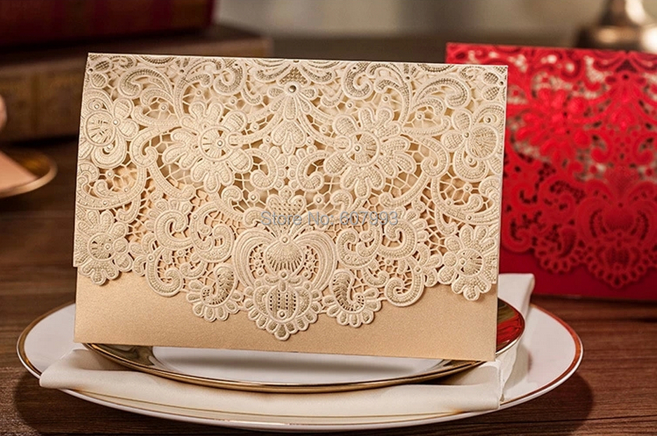Gold Laser cut customized wedding party invitation card,delicate lace marriage greeting kit,100sets/lot, Express Free shipping(China (Mainland))