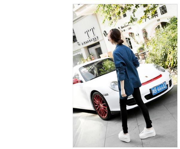 Vintage 2016 Lady jeans jackets plus size long Batwing sleeve Turn Down Collar Cardigan denim jacket female aw246