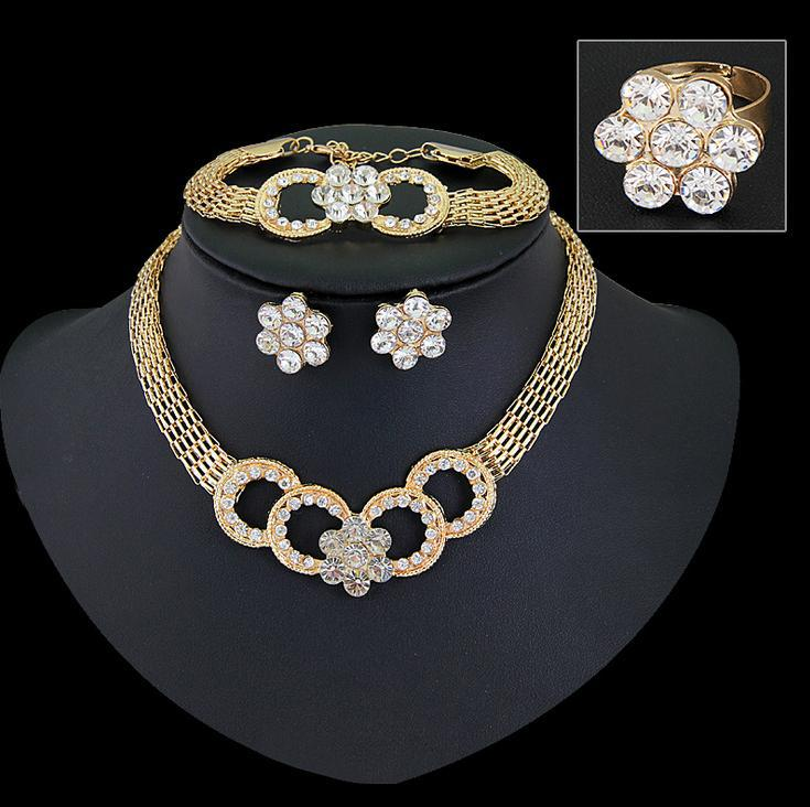 Jewelry Sets For Women Wedding Party Necklace Set Fashion CZ Crystal Rhinestone Gold Plated Pendant Costume Bridal Accessories(China (Mainland))