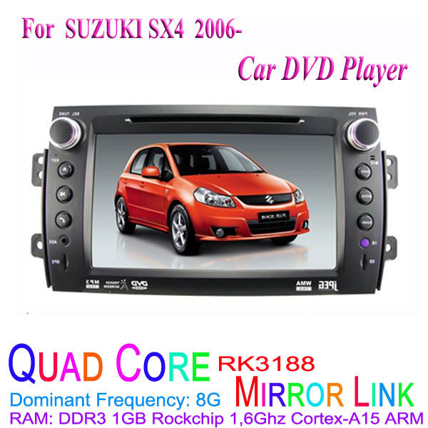 1024*600 Quad Core Android 4.4.4 Fit SUZUKI SX4 2006 2007 2008 2009 2010 2011 2012 Car DVD Player GPS TV 3G Radio(China (Mainland))