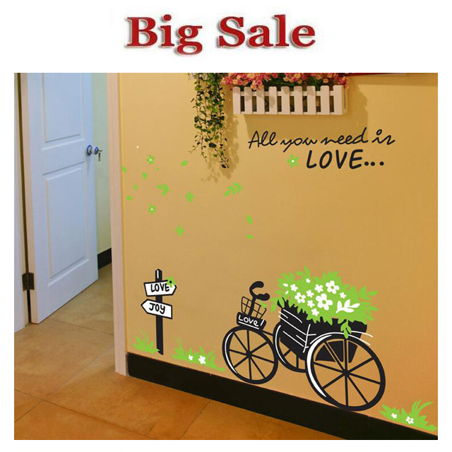bike basket wall stickers Sitting room adornment bedroom wall fence post Wall Stickers Home Decor Wall Stickers For Kids Rooms(China (Mainland))