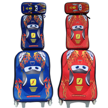 EVA CARS school bag 3 wheeled school bags backpack trolley luggage cars backpack children luggage set with backpack for boys(China (Mainland))